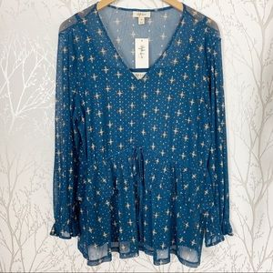 Style & Co Blue Medallion Tiered Ruffle Top 1X